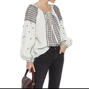 💙HP💙 NWT Frame Denim Anita embroidered blouse